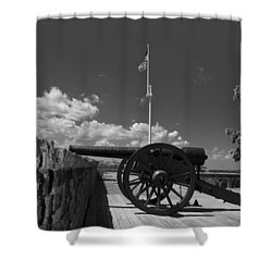 Fort Pulaski Cannon And Flag In Black And White Shower Curtain