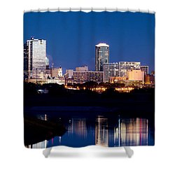Fort Worth Skyline At Night Poster Shower Curtain