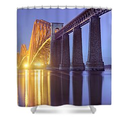 Forth Bridge Twilight Shower Curtain by Ray Devlin