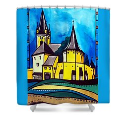 Fortified Medieval Church In Transylvania By Dora Hathazi Mendes Shower Curtain by Dora Hathazi Mendes