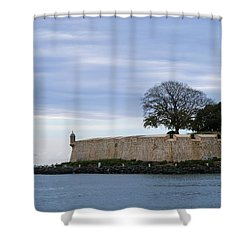 Fortress Wall Shower Curtain by Lois Lepisto