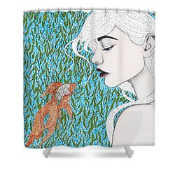 Shower Curtain featuring the mixed media Fortune Found Me by Natalie Briney