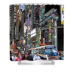 Forty Second And Eighth Ave N Y C Shower Curtain by Iowan Stone-Flowers