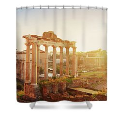 Forum - Roman Ruins In Rome At Sunrise Shower Curtain by Anastasy Yarmolovich