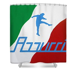 Forza Azzurri Shower Curtain by Oliver Johnston