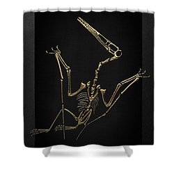 Shower Curtain featuring the digital art Fossil Record - Gold Pterodactyl Fossil On Black Canvas #4 by Serge Averbukh