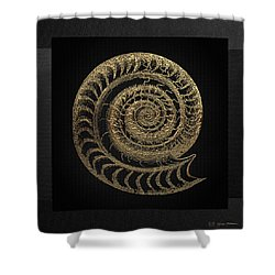Shower Curtain featuring the digital art Fossil Record - Golden Ammonite Fossil On Square Black Canvas # by Serge Averbukh