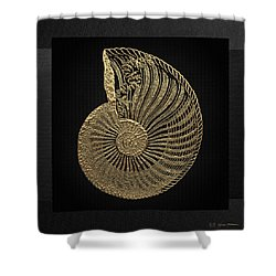 Shower Curtain featuring the digital art Fossil Record - Golden Ammonite Fossil On Square Black Canvas #1 by Serge Averbukh