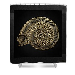 Shower Curtain featuring the digital art Fossil Record - Golden Ammonite Fossil On Square Black Canvas #2 by Serge Averbukh
