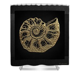 Shower Curtain featuring the digital art Fossil Record - Golden Ammonite Fossil On Square Black Canvas #4 by Serge Averbukh