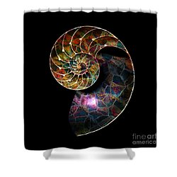 Shower Curtain featuring the digital art Fossilized Nautilus Shell by Klara Acel