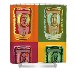 Shower Curtain featuring the digital art Foster's Lager Pop Art by Jean luc Comperat