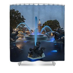 Fountain Blue Shower Curtain