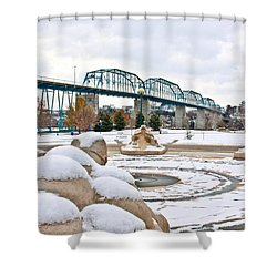 Fountain In Winter Shower Curtain