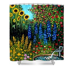 Fountain Of Flowers Shower Curtain