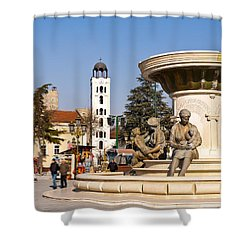 Fountain Of The Mothers Shower Curtain by Rae Tucker