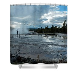 Fountain Paint Pot Area Shower Curtain by Cindy Murphy - NightVisions