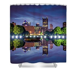 Shower Curtain featuring the photograph Fountain Reflections  by Emmanuel Panagiotakis