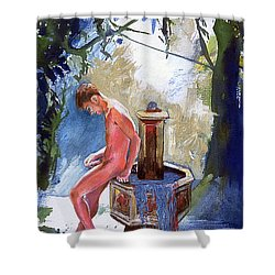 Fountain Shower Curtain by Rene Capone