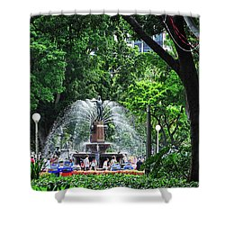 Shower Curtain featuring the photograph Fountain Through The Trees By Kaye Menner by Kaye Menner