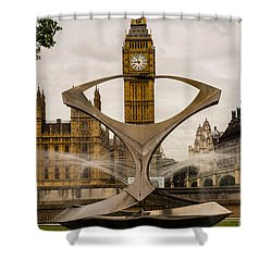 Fountain With Big Ben Shower Curtain
