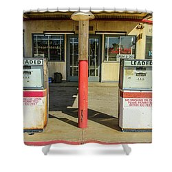 Four Aces Store And Gas Pumps Shower Curtain by Robert Hebert