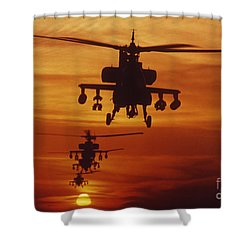 Shower Curtain featuring the photograph Four Ah-64 Apache Anti-armor by Stocktrek Images
