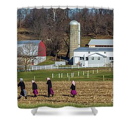 Four Amish Women In Field Shower Curtain