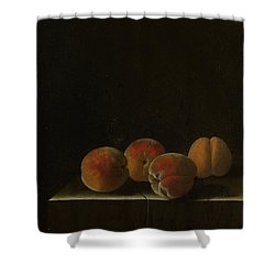 Four Apricots On A Stone Plinth Shower Curtain