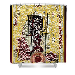 Shower Curtain featuring the mixed media Four Blessings Double Happiness Japanese Kimono by Larry Talley