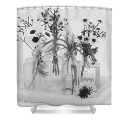 Four Bottles And Their Flowers Shower Curtain by Sandra Foster