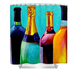 Four Bottles Shower Curtain by John  Nolan