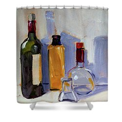 Shower Curtain featuring the painting Four Bottles by Nancy Merkle