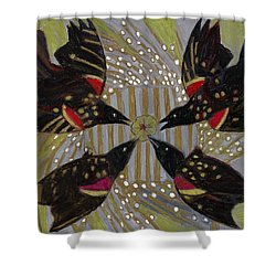 Shower Curtain featuring the painting Four Calling Birds by Denise Weaver Ross