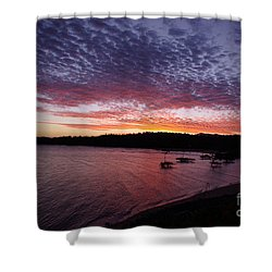 Four Elements Sunset Sequence 1 Coconuts Qld  Shower Curtain by Kerryn Madsen - Pietsch