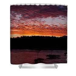 Four Elements Sunset Sequence 2 Coconuts Qld Shower Curtain by Kerryn Madsen - Pietsch