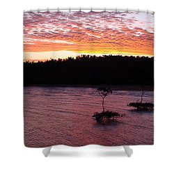 Four Elements Sunset Sequence 5 Coconuts Qld  Shower Curtain by Kerryn Madsen - Pietsch