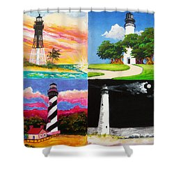 Four Florida Lighthouses Shower Curtain by Anne Marie Brown