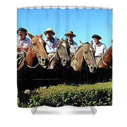 Four Gauchos In Argentina Shower Curtain
