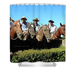 Shower Curtain featuring the photograph Four Gauchos In Argentina by Kirsten Giving