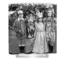 Four Girls In Halloween Costumes, 1971, Part One Shower Curtain