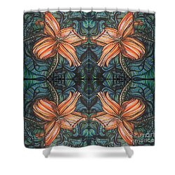Four Lilies Looking In Shower Curtain
