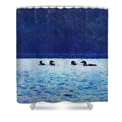 Four Loons On Parker Pond Shower Curtain