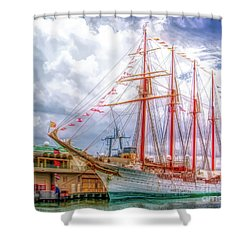 Four Masted Schooner In Port Shower Curtain