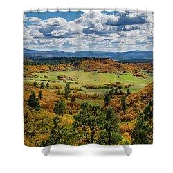 Four Mile Road Peak Color Shower Curtain