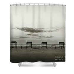 Shower Curtain featuring the photograph Four On The Beach by Sebastian Mathews Szewczyk