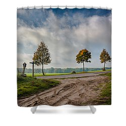 Shower Curtain featuring the photograph Four On The Crossroads by Dmytro Korol