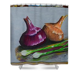 Shower Curtain featuring the painting Four Onions by Melvin Turner