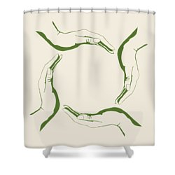 Four People Hands Making Circle Conceptual Round Green Eco Symbo Shower Curtain
