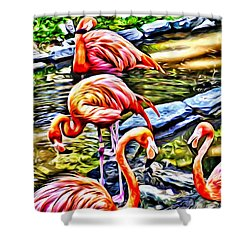 Shower Curtain featuring the painting Four Pink Flamingos by Joan Reese